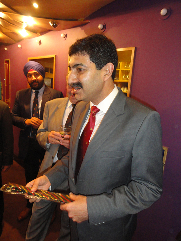 Brigadier Sandeepan Handa, The Indian Military Adviser, receiving his presentation JBA tie on his first attendance at a JBA Lunch.