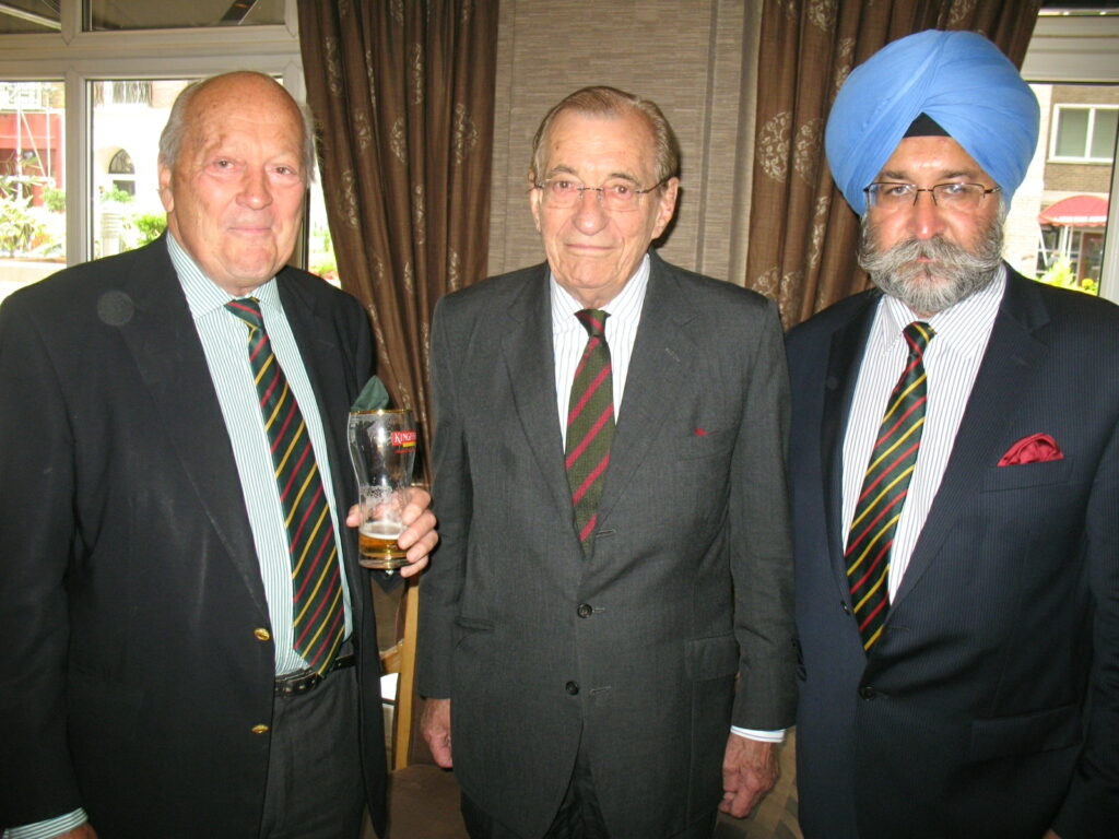 Old friends at the London Lunch. From left to right: The President, and Colonel Sir Geoffery Errington Bt who was Colonel of The King's Regiment immediately before Major General Davies and sporting The King's Regimental tie, and Mr Harbinder Singh Rana Executive of the Maharajah Juleep Singh Centenary Trust and of the Sikh Heritage Trail who kindly arranged the Lunch venue.  Colonel Sir Geoffery successfully oversaw the amalgamation of The King's Liverpool Regiment and The Manchester Regiment in 1985, the new Regiment becoming The King's Regiment, now The Duke of Lancaster's Regiment.